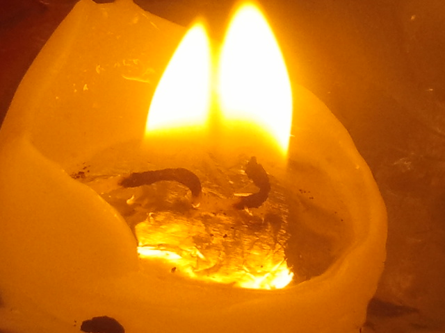 Plötsligt brann två lågor intill varandra då ljuset nästan hade brunnit ut.