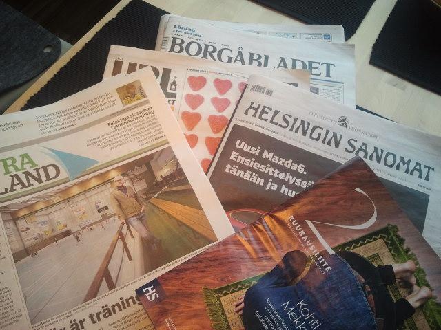 Tre femtedelar av de här tidningarna hann jag läsa i morse.