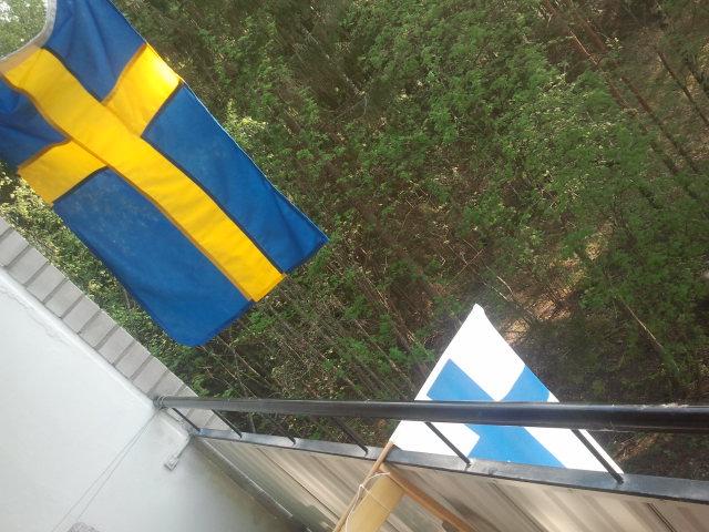 Efter matchen skyndade vi oss ut på balkongen för att visa åt grannskapet att Sverige vann semifinalen i hockey-VM men att Finland troligen kommer att klara sig bättre i Eurovision Song Contest.