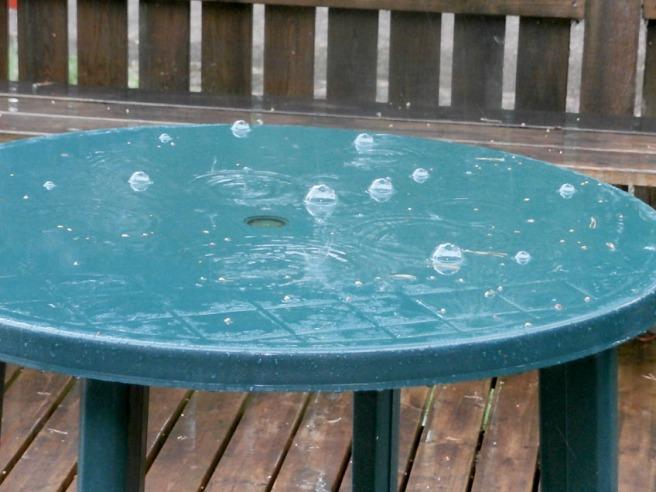 Den här dagen började och slutade med sol. Men däremellan regnade det rejält några timmar. Då bildades skojiga bubblor på ett av kioskens terrassbord.