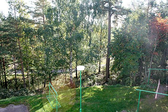Utsikten från köksfönstret mot Lovisaviken, som skymtar i bakgrunden. Sommarstället ligger ungefär mitt på bilden mot högra kanten, bakom sandvägen (Kretsgången). Än är det så tät grönska att byggnaderna där nere inte syns.