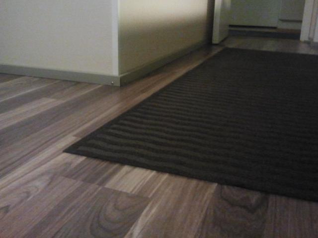 En ny matta har lagts på köksgolvet och den andra har fått flytta ut från vårt hus.