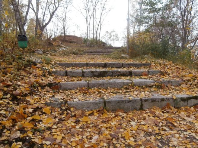 Och så lite fler bilder från närmiljön där Chrille och Jeanette bor i Eskilstuna. Genast då jag såg den här lövklädda trappan i en park ville jag ha den på bild.