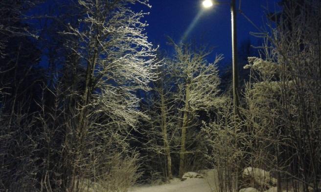 Från caféet vandrade vi hem över åsen. Det var minus 14 grader kallt och visst är landskapet vackert.