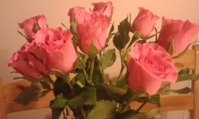 På första bilden fick rosorna riktigt bra färg, men stolarna i bakgrunden störde mig lite.