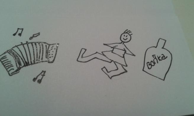 Ett dragspel, en gubbe som dansar ripaska, en vodkaflaska. Om ni nu inte såg det.