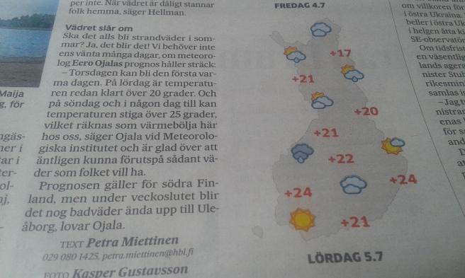 Äntligen utlovas lite sol och kanske sommartemperaturer.