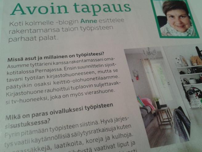 Tidningen Unelmien Talo & Koti har skrivit om Annes inredningsblogg Koti Kolmelle.