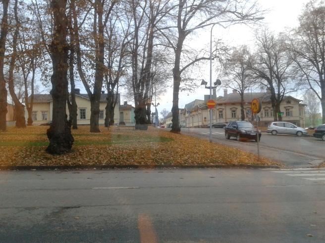 Vackert med löv på marken och mörka trädstammar som siluetter. Något att måla på kursen i framtiden kanske?