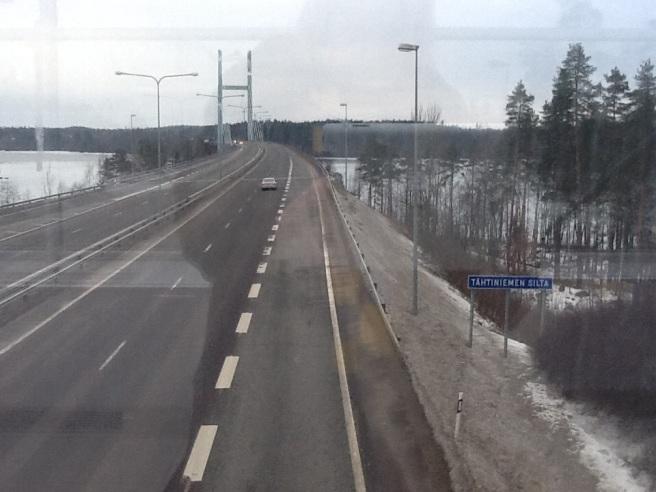 Första pausen vid Tähtiniemen silta i Heinola.