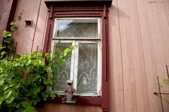 Ett av fönstren på cafeterian Tuhannen Tuskan kahvilas gårdsplan.