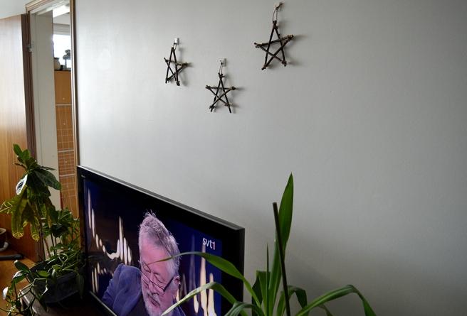 Stjärnor på väggen och en av favoritstjärnorna på teve. G. W. Persson som gäst i Skavlan.