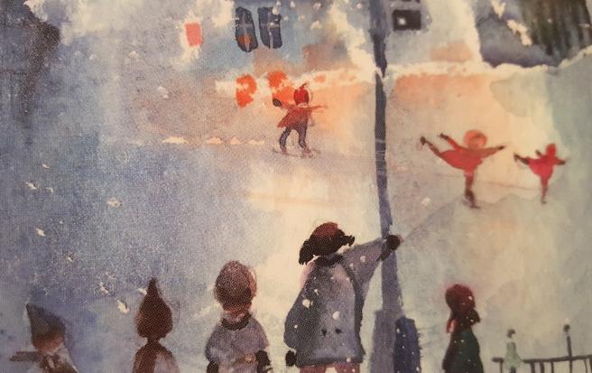 """Detaljstudie från en almanacka med fina bilder som jag fick av min syster i julklapp. Minna L. Immonens """"Sininen hetki"""" - den blå stunden."""