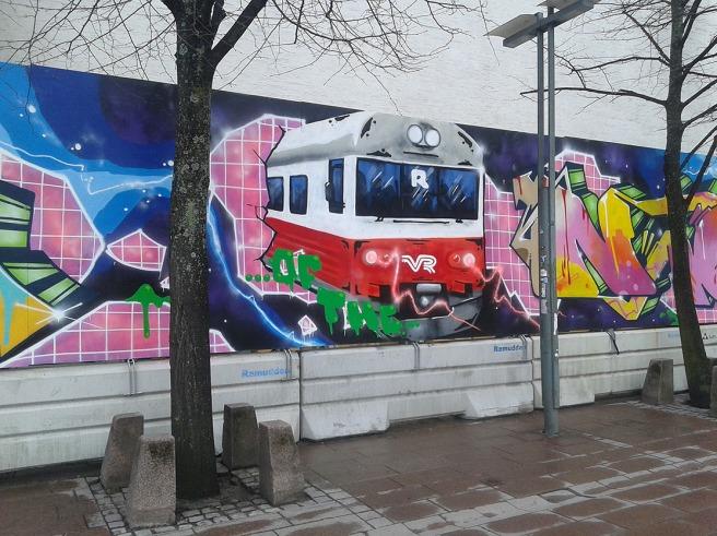 Så här kan väggar mitt i stan också se ut. En av väggarna på Glaspalatset i riktigt centrala Helsingfors.