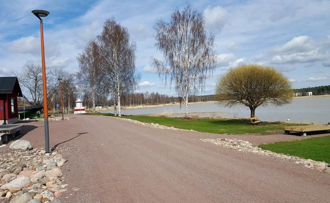 Bilden togs i fredags. Än är många träd kala, men så som det regnat, och i dag har vi sol och värme - betyder det att nu går det undan, snart är allt grönt!