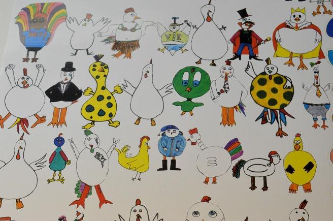 Teckningar, djur och pigga färger gör en glad!