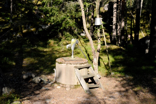 Färskt vatten gick att få från en pump på Brokholmen.