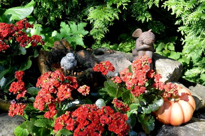 Här kunde blicken vila på vackra detaljer bland växterna.