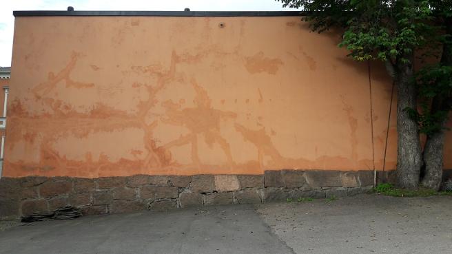 Stor yta, som gjort för ett graffitikosntverk.