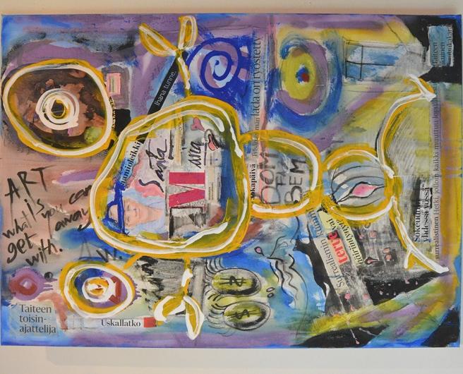 Den här tavlan fanns på en utställning på Galleri Theodor tidigare i somras. Den hängde på annat led då, men jag tycker man kan ha den att hänga hur som helst :-)
