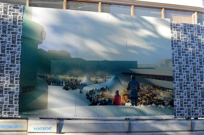 Den här bilden visar hur innergården ska se ut i framtiden. det nya konstmuseet ska ligga under marken om jag förstått allt rätt.