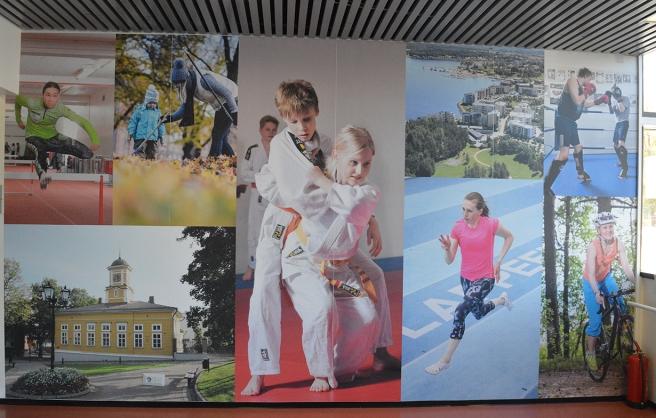 En vägg i idrottshallen i Villmanstrand.