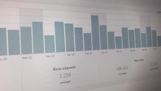 Som mest hade jag en gång över 3000 visningar på en dag. I medeltal har jag cirka 350 per dag.