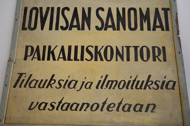 Loviisan Sanomat, lokalkontoret. Prenumerationer och annonser emottages.