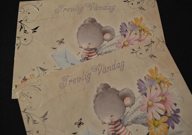 På Alla hjärtans dag fick jag två kort med samma motiv <3